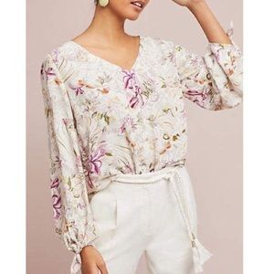 Anthropologie Maeve Floral Long-sleeved Blouse